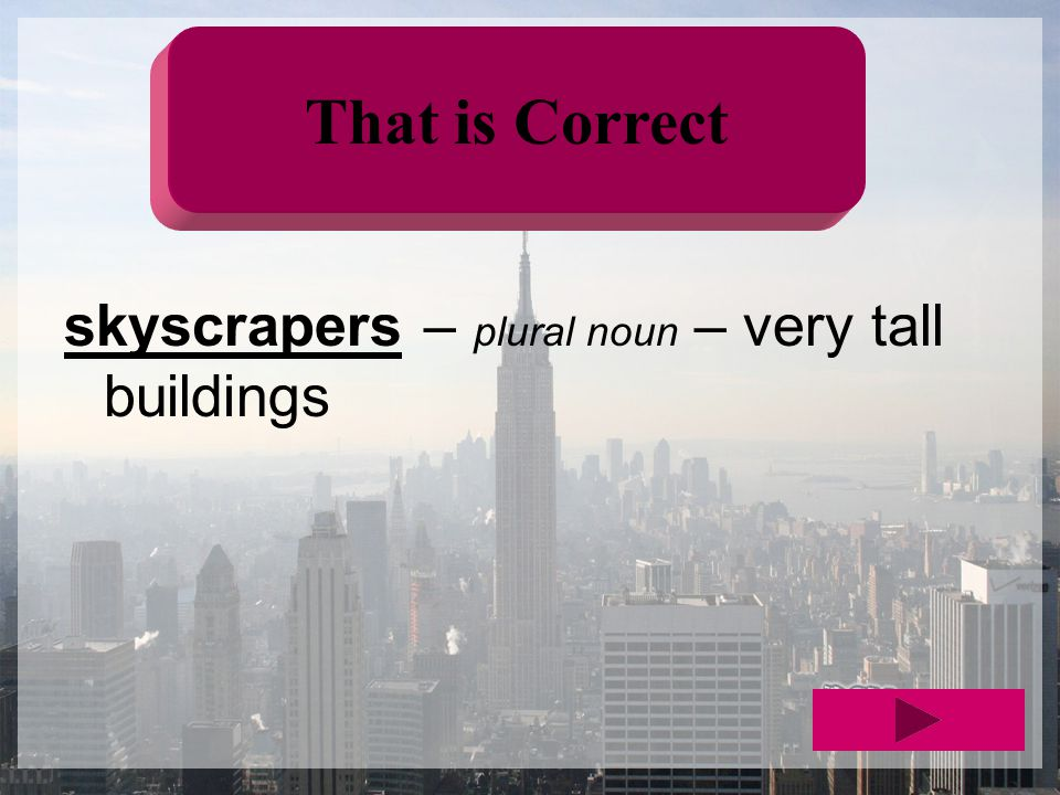 That is Correct skyscrapers – plural noun – very tall buildings