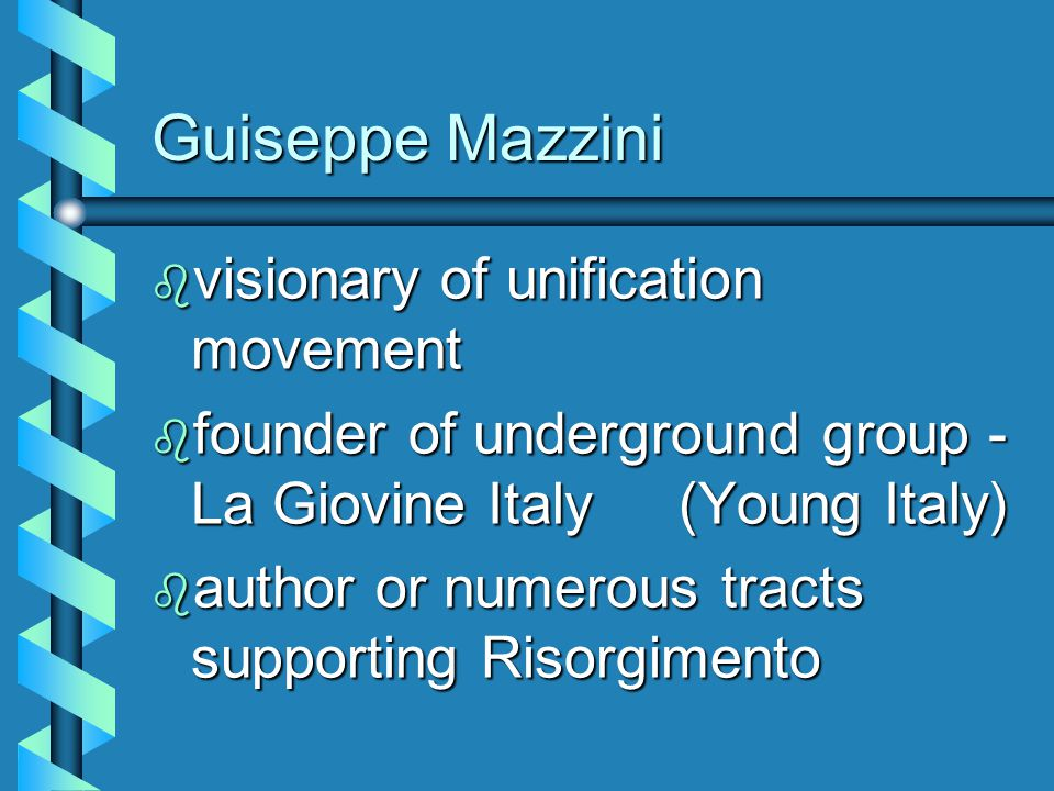 Italy  RISORGIMENTO  Catalysts for unification 3 men3 men