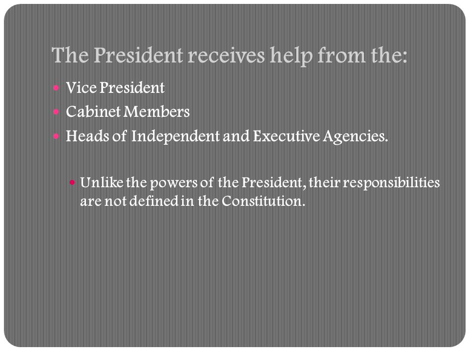 The Order of Presidential Succession The Vice President The Speaker of the House The President pro tempore of the Senate Members of the president's cabinet in the order in which their departments were created