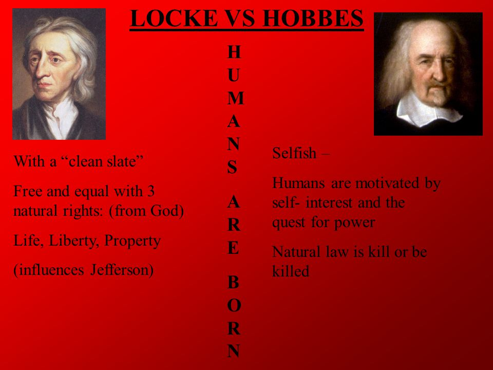 LOCKE VS HOBBES HUMANSAREBORNHUMANSAREBORN With a clean slate Free and equal with 3 natural rights: (from God) Life, Liberty, Property (influences Jefferson) Selfish – Humans are motivated by self- interest and the quest for power Natural law is kill or be killed