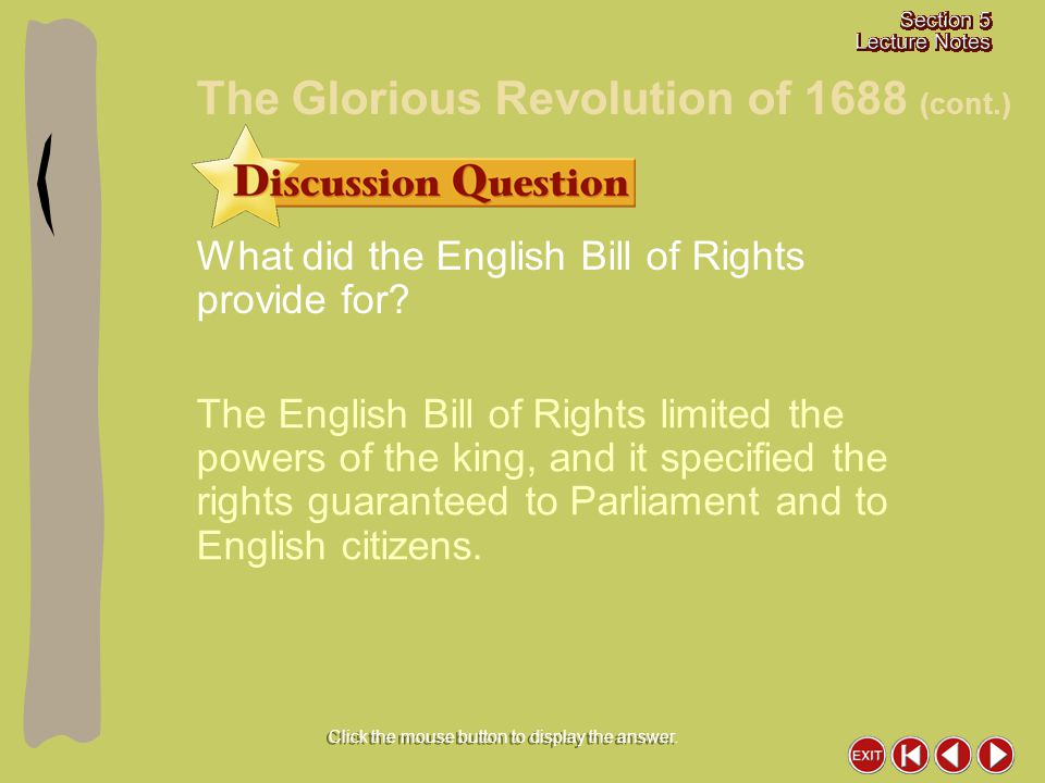What did the English Bill of Rights provide for? The English Bill of Rights limited the powers of the king, and it specified the rights guaranteed to