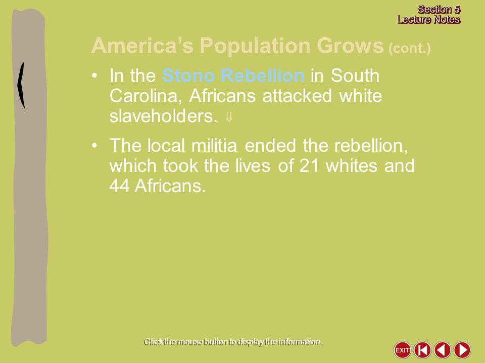 In the Stono Rebellion in South Carolina, Africans attacked white slaveholders.