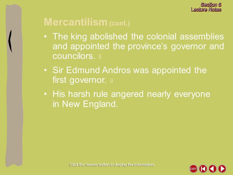 The king abolished the colonial assemblies and appointed the province's governor and councilors.  Sir Edmund Andros was appointed the first governor.