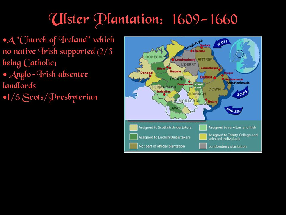 """Ulster Plantation: 1609-1660 A """"Church of Ireland"""" which no native Irish supported (2/3 being Catholic) Anglo-Irish absentee landlords 1/5 Scots/Presb"""