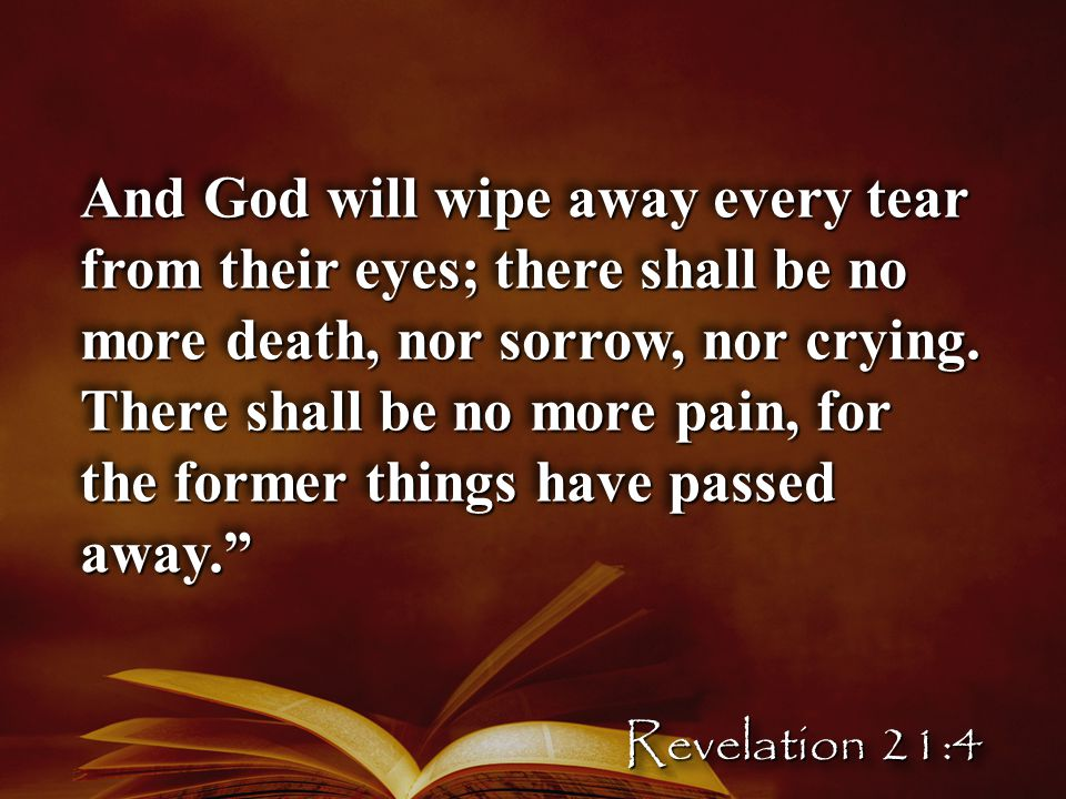 And God will wipe away every tear from their eyes; there shall be no more death, nor sorrow, nor crying.