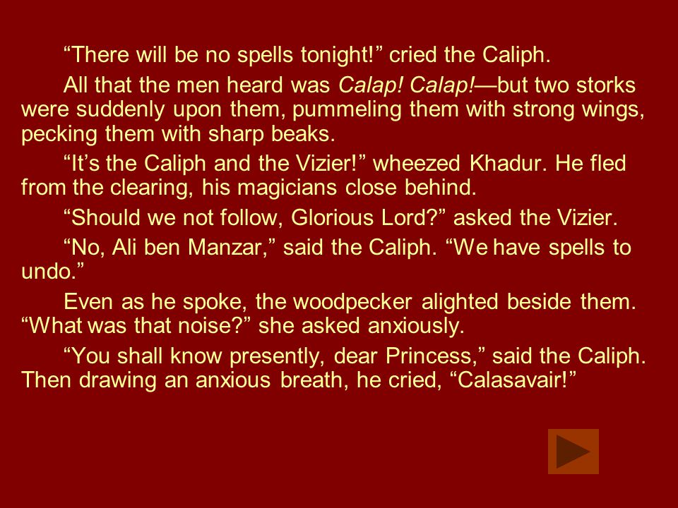 """There will be no spells tonight!"" cried the Caliph. All that the men heard was Calap! Calap!—but two storks were suddenly upon them, pummeling them w"