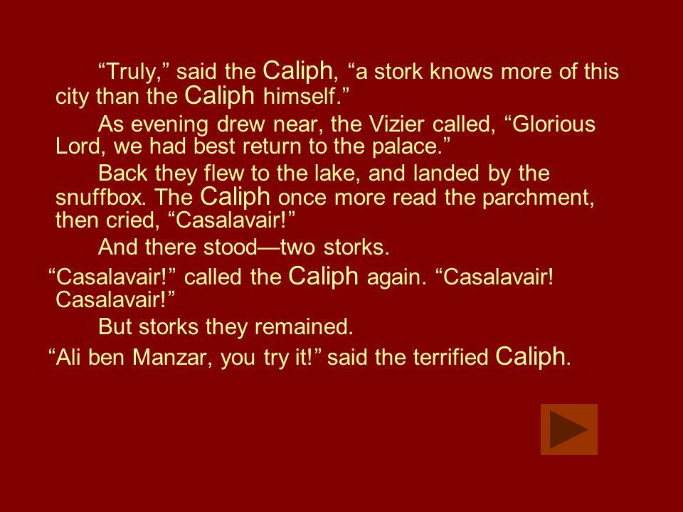 Casalavair.Casalavair! cried the no-less-terrified Vizier.