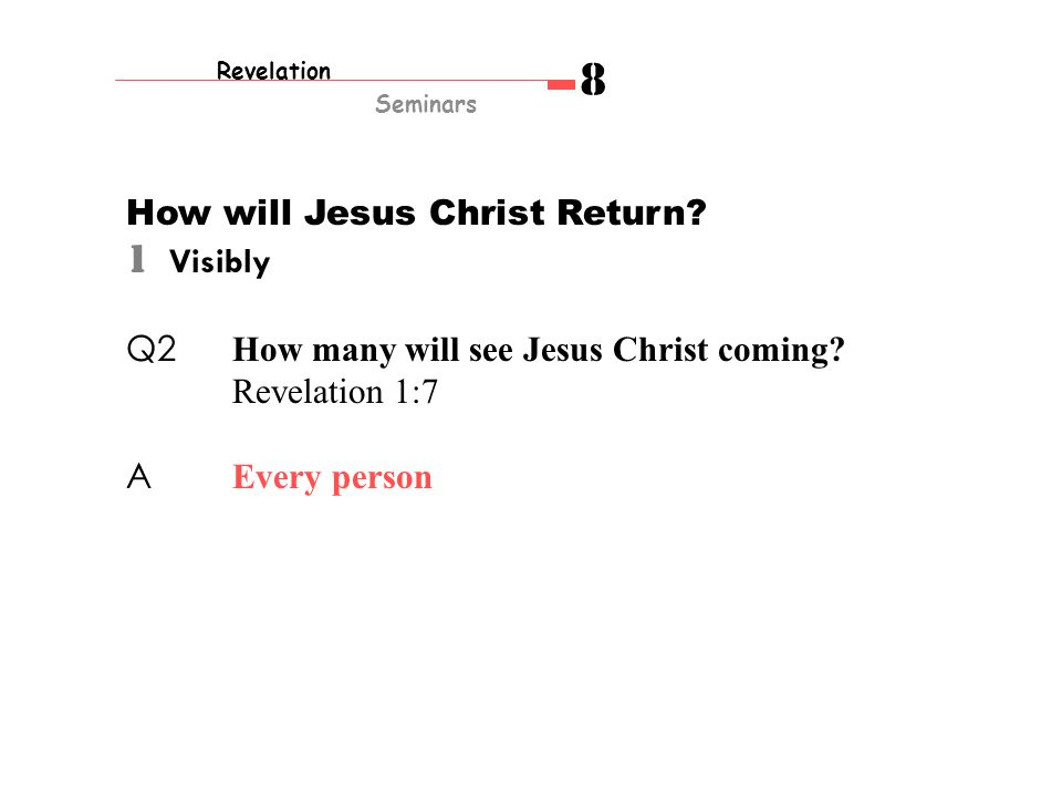 How will Jesus Christ Return. 1 Visibly Q2 How many will see Jesus Christ coming.