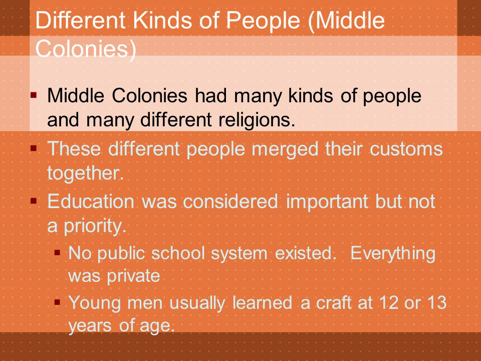 Different Kinds of People (Middle Colonies)  Middle Colonies had many kinds of people and many different religions.