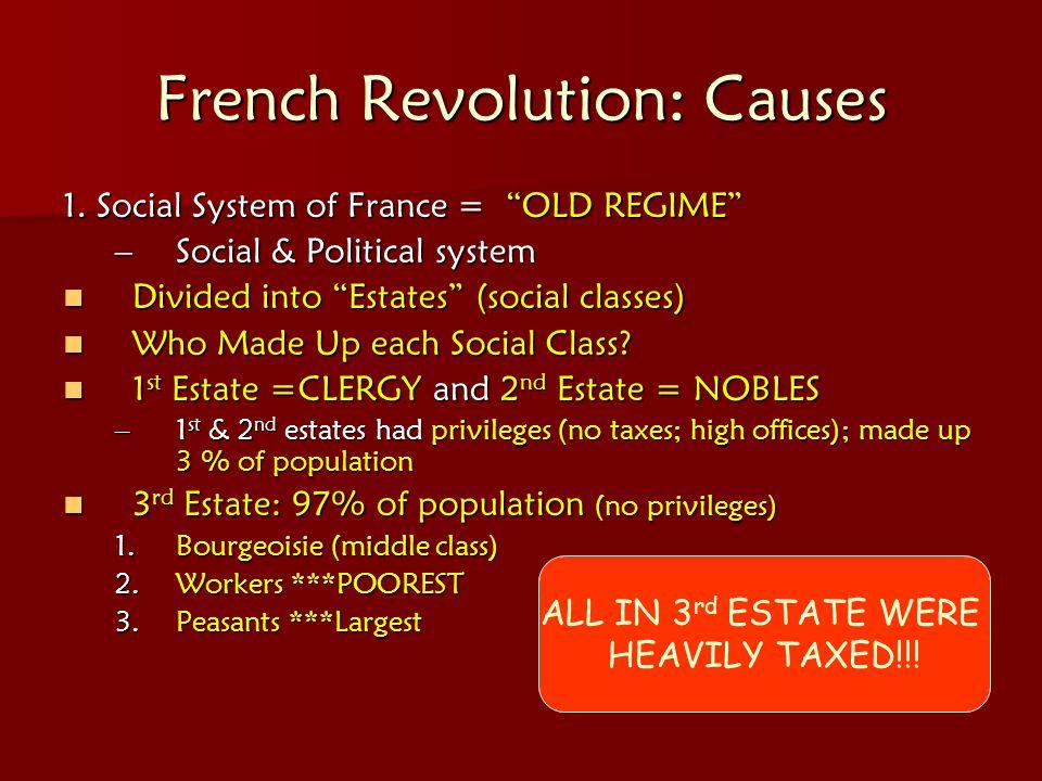 "French Revolution: Causes 1. Social System of France = ""OLD REGIME"" –Social & Political system Divided into ""Estates"" (social classes) Divided into ""E"