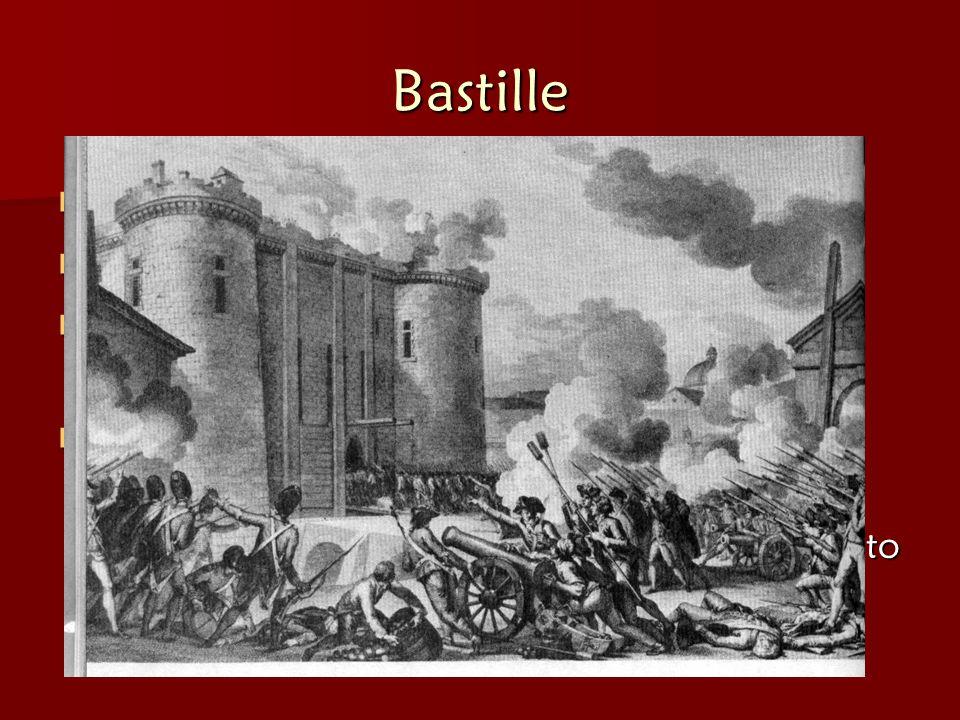 Bastille Mob storms Bastille (= French PRISON) Mob storms Bastille (= French PRISON) Stormed to find Gunpowder & Arms Stormed to find Gunpowder & Arms