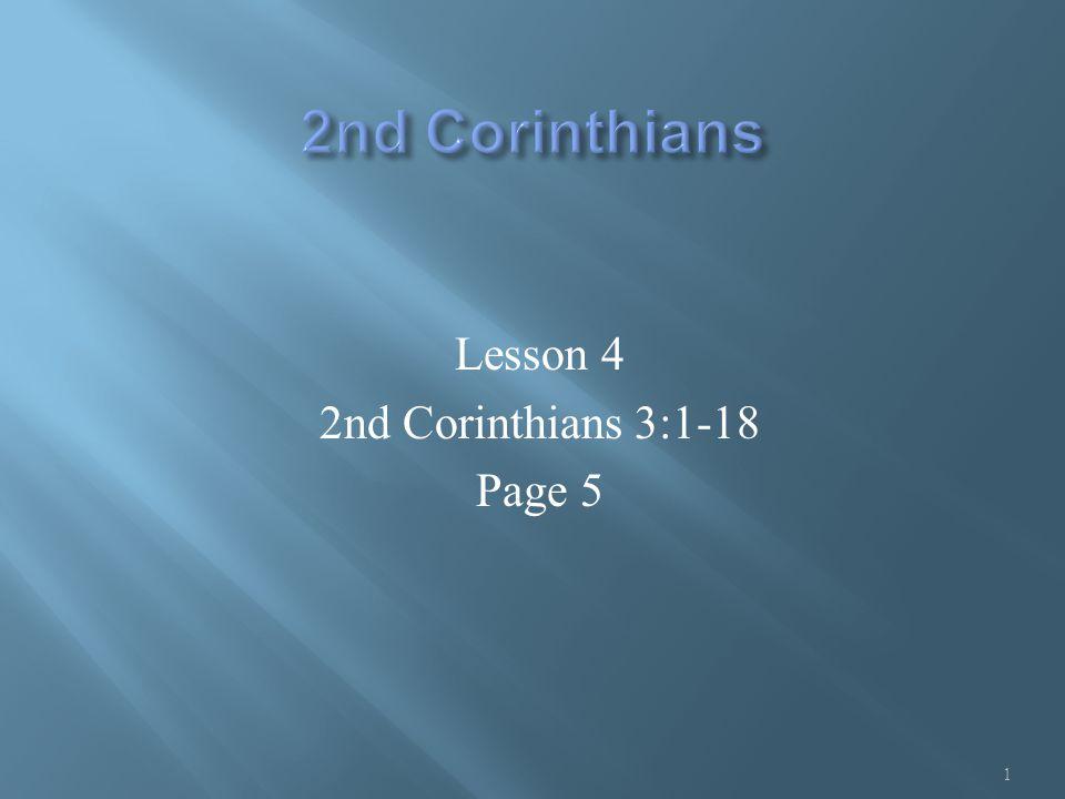 Lesson 4 2nd Corinthians 3:1-18 Page 5 1