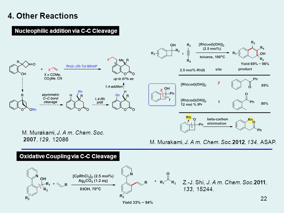 4. Other Reactions M. Murakami, J. A m. Chem. Soc.