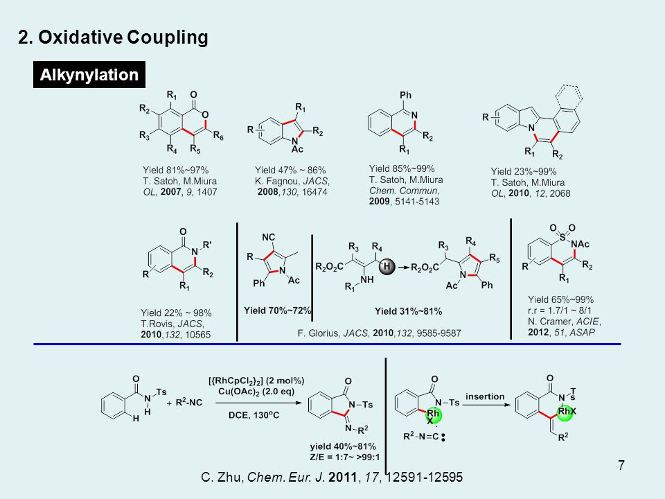 Alkynylation 2. Oxidative Coupling C. Zhu, Chem. Eur. J. 2011, 17, 12591-12595 Alkynylation 7