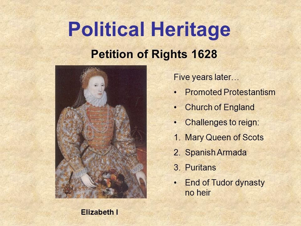 Political Heritage Petition of Rights 1628 Five years later… Promoted Protestantism Church of England Challenges to reign: 1.Mary Queen of Scots 2.Spanish Armada 3.Puritans End of Tudor dynasty no heir Elizabeth I