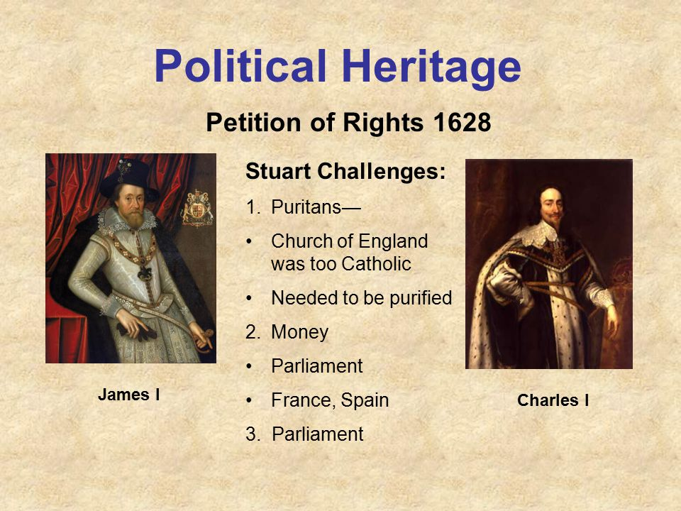 Political Heritage Petition of Rights 1628 James I Charles I Stuart Challenges: 1.Puritans— Church of England was too Catholic Needed to be purified 2.Money Parliament France, Spain 3.