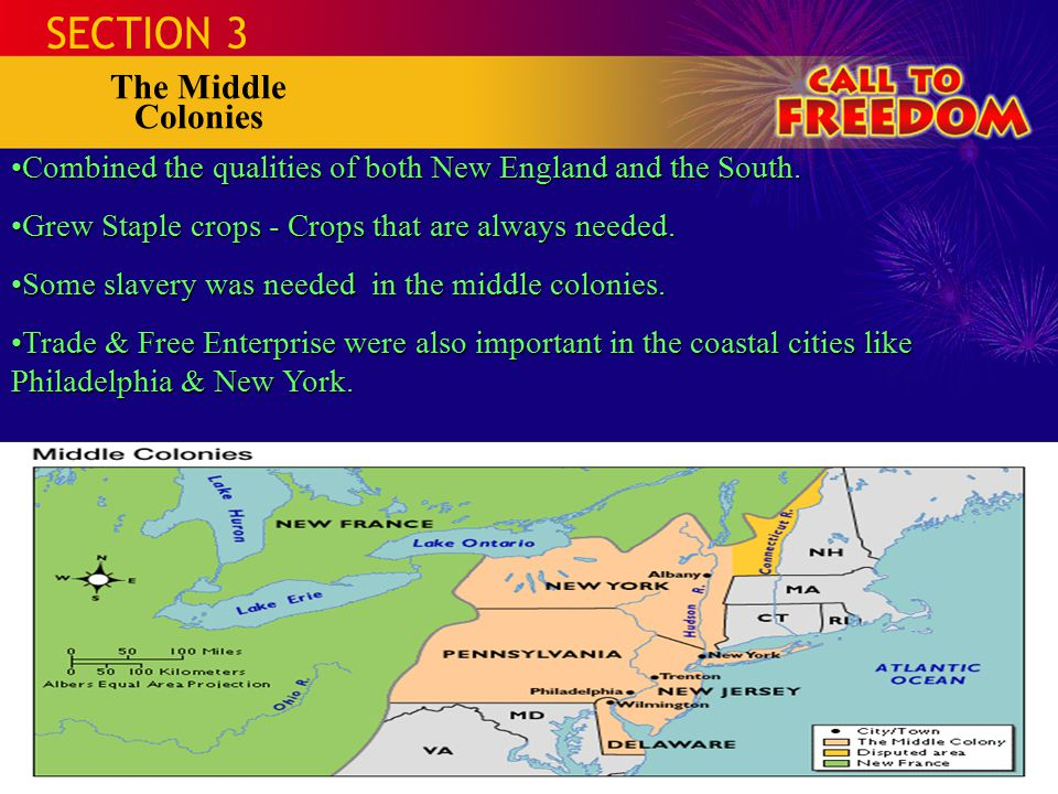 SECTION 3 The Middle Colonies Combined the qualities of both New England and the South.Combined the qualities of both New England and the South.
