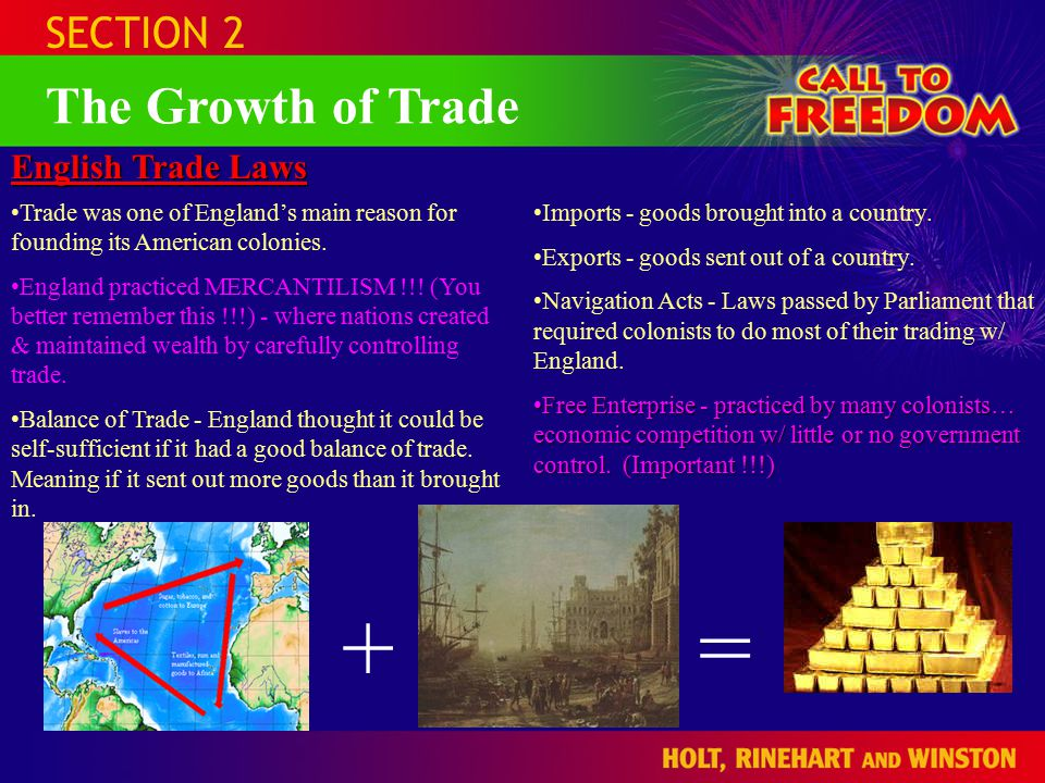 SECTION 2 The Growth of Trade English Trade Laws Trade was one of England's main reason for founding its American colonies.