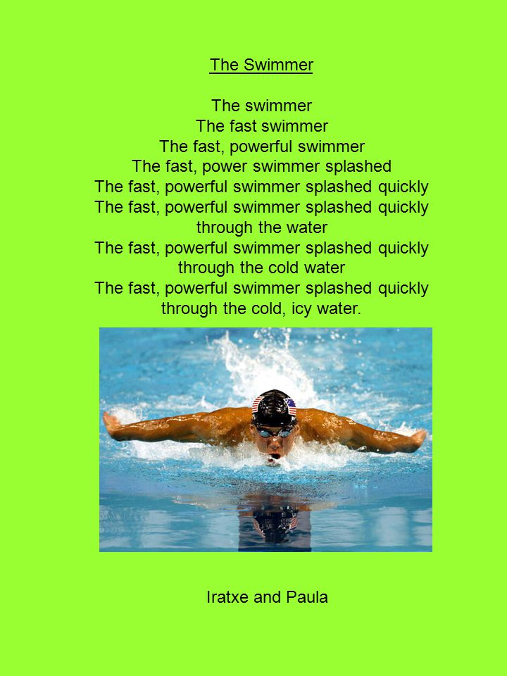 The Swimmer The swimmer The fast swimmer The fast, powerful swimmer The fast, power swimmer splashed The fast, powerful swimmer splashed quickly The fast, powerful swimmer splashed quickly through the water The fast, powerful swimmer splashed quickly through the cold water The fast, powerful swimmer splashed quickly through the cold, icy water.