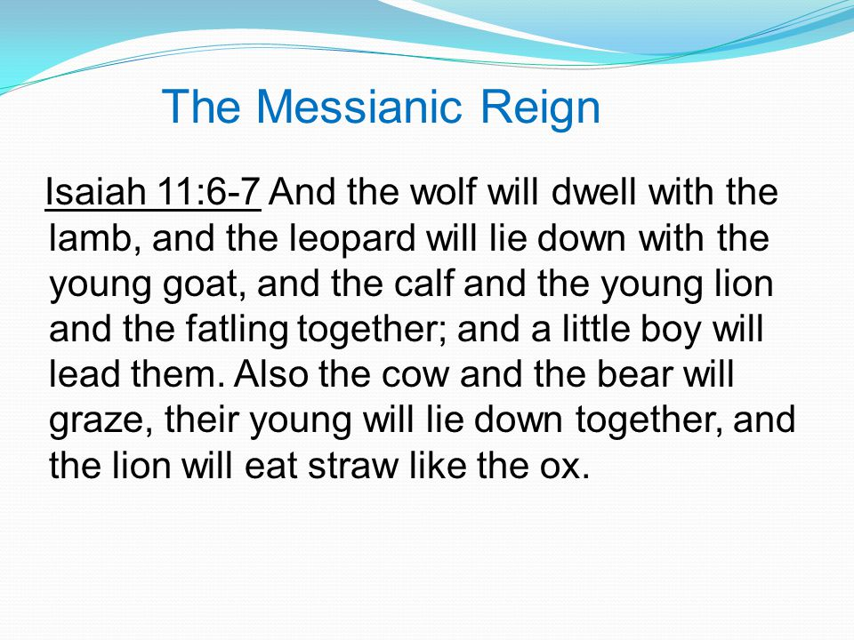 The Messianic Reign Isaiah 11:6-7 And the wolf will dwell with the lamb, and the leopard will lie down with the young goat, and the calf and the young lion and the fatling together; and a little boy will lead them.