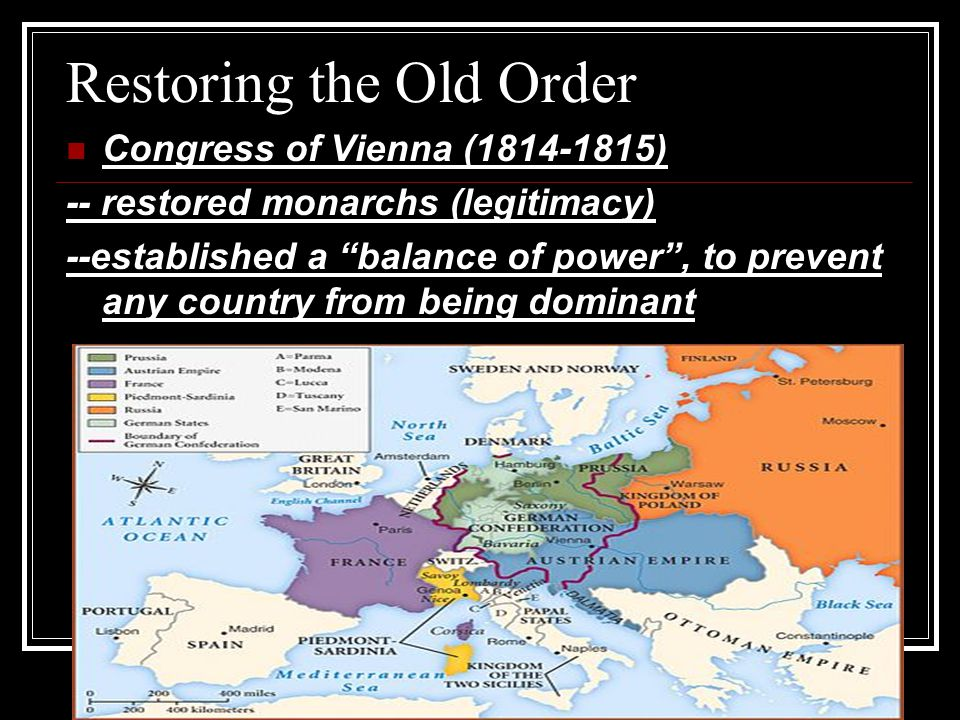 Restoring the Old Order Congress of Vienna (1814-1815) -- restored monarchs (legitimacy) --established a balance of power , to prevent any country from being dominant