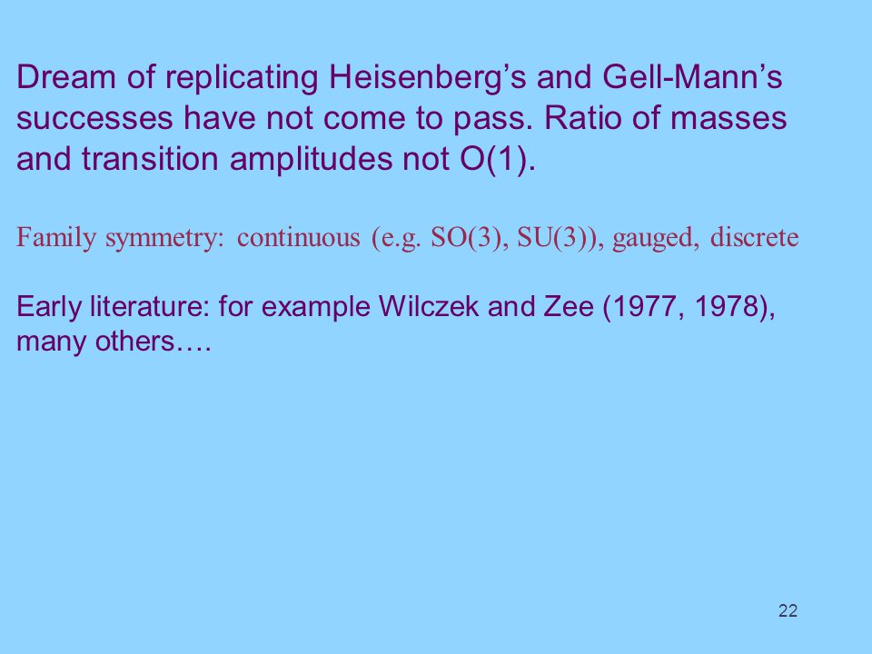 Dream of replicating Heisenberg's and Gell-Mann's successes have not come to pass.