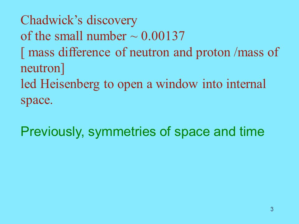 Chadwick's discovery of the small number ~ 0.00137 [ mass difference of neutron and proton /mass of neutron] led Heisenberg to open a window into internal space.