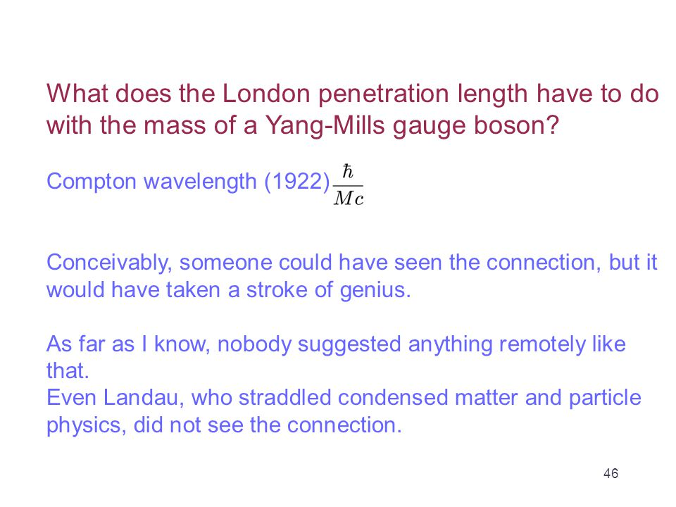 What does the London penetration length have to do with the mass of a Yang-Mills gauge boson.