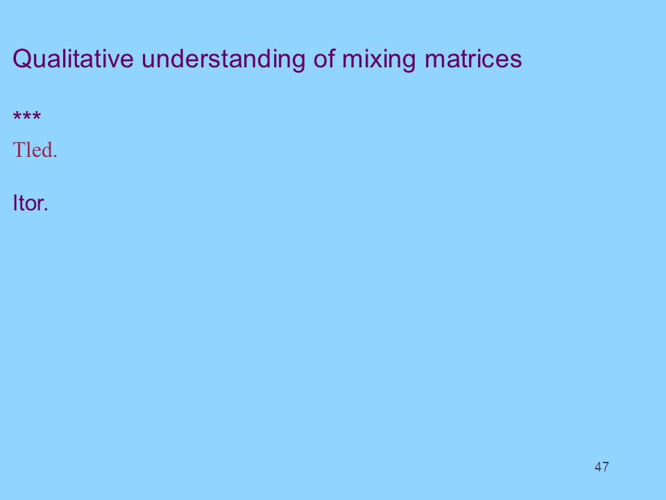 Qualitative understanding of mixing matrices *** Tled. Itor. 47