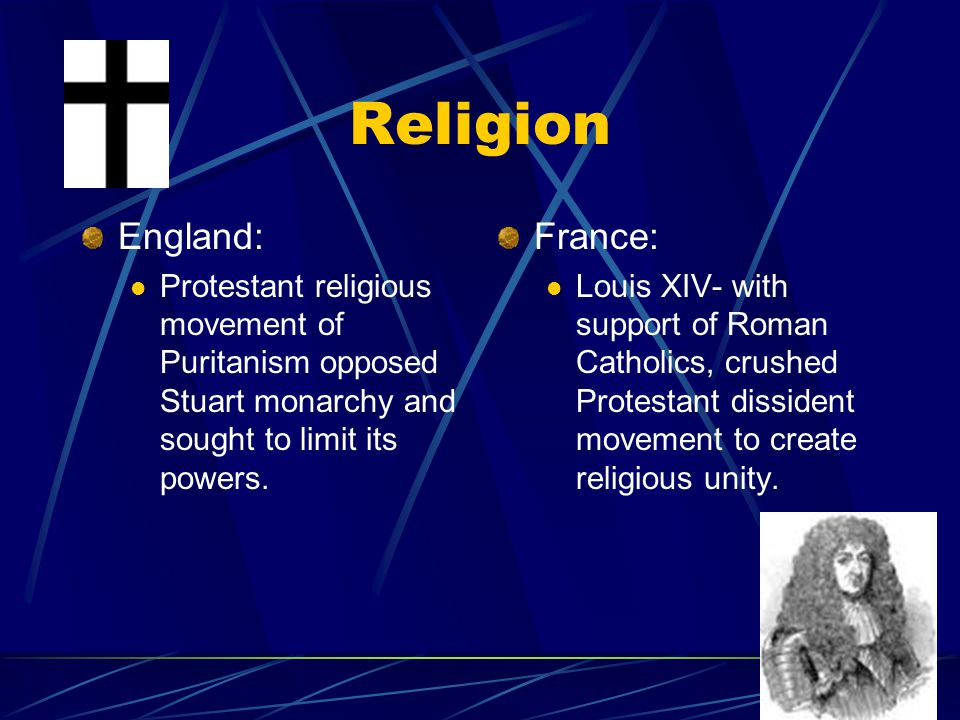 Religion England: Protestant religious movement of Puritanism opposed Stuart monarchy and sought to limit its powers.