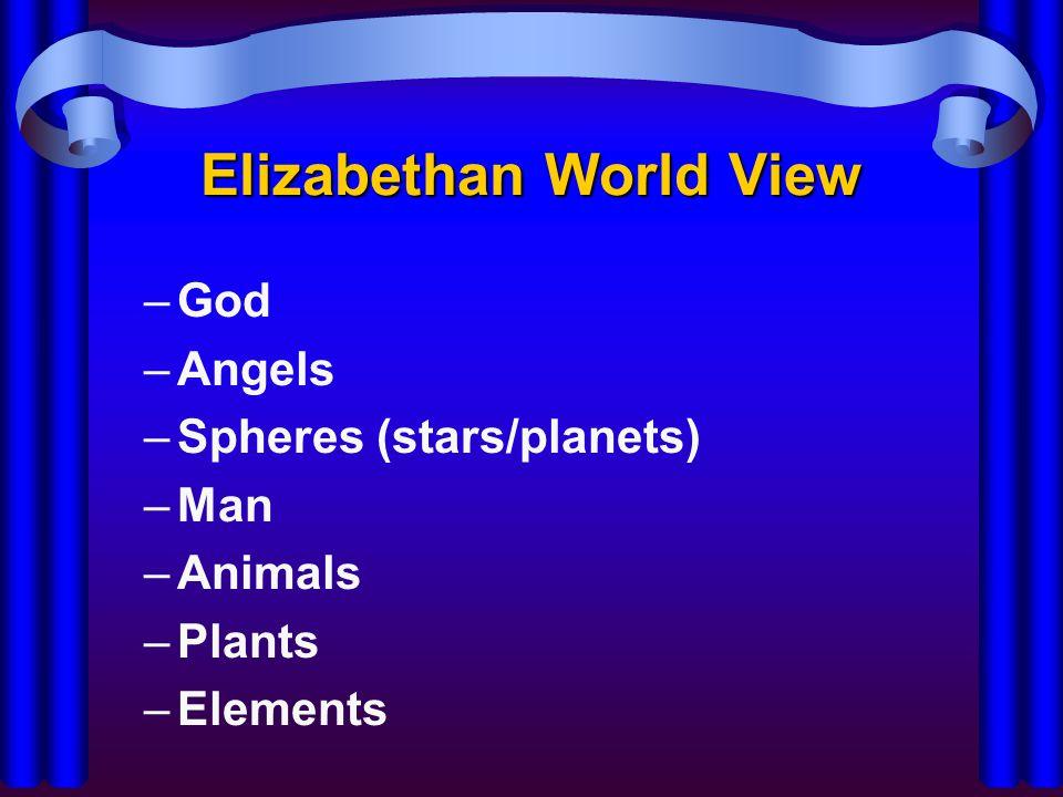 Elizabethan World View –King/Queen –Lords/Nobility –Knights –Gentry (landowners)/Artisans (skilled workers) –Merchants –Serfs (peasants)