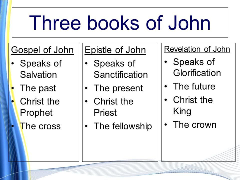 Three books of John Gospel of John Speaks of Salvation The past Christ the Prophet The cross Epistle of John Speaks of Sanctification The present Christ the Priest The fellowship Revelation of John Speaks of Glorification The future Christ the King The crown