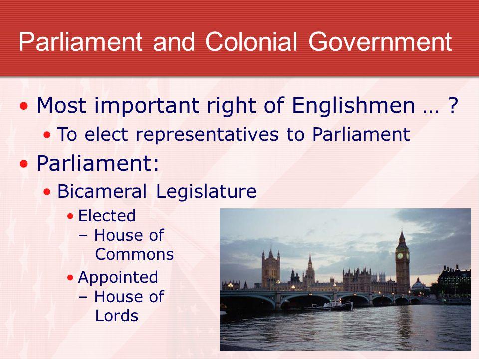 Parliament and Colonial Government Most important right of Englishmen … ? To elect representatives to Parliament Parliament: Bicameral Legislature Ele