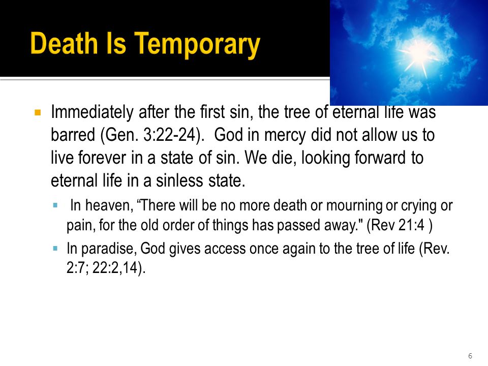  Immediately after the first sin, the tree of eternal life was barred (Gen.