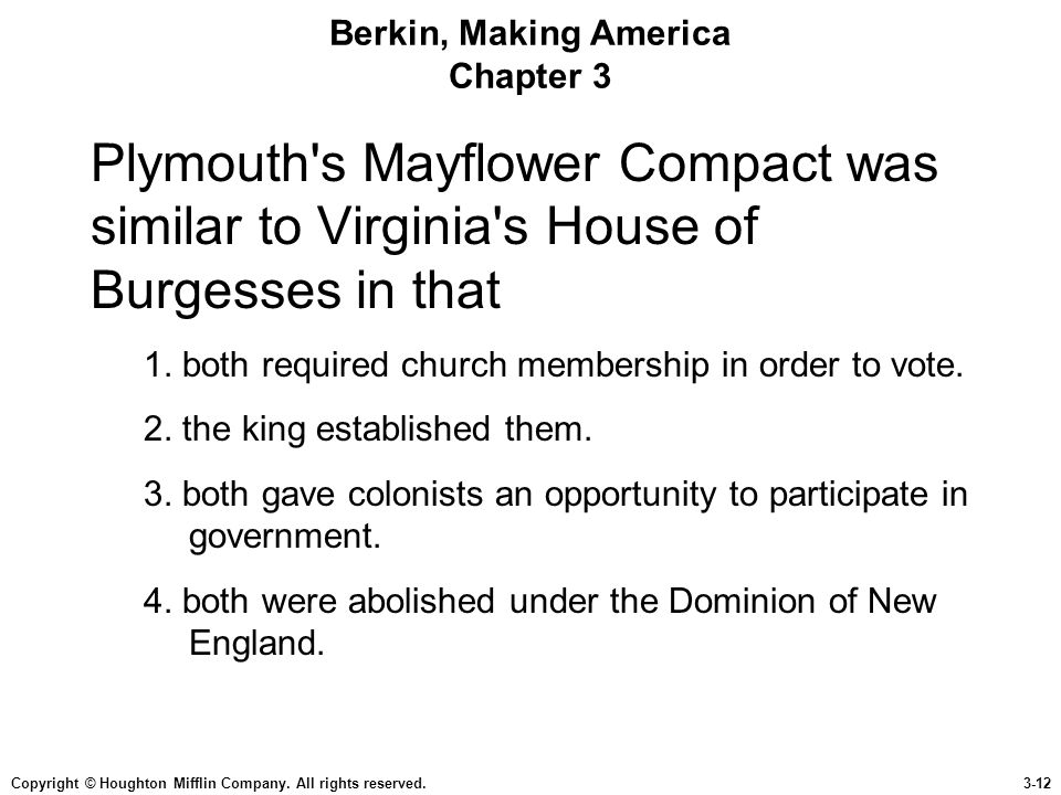 Copyright © Houghton Mifflin Company. All rights reserved.3-12 Berkin, Making America Chapter 3 Plymouth's Mayflower Compact was similar to Virginia's