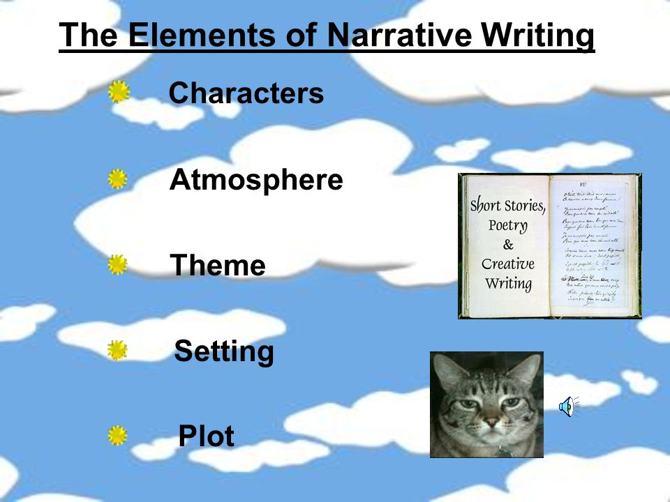Some examples of narrative writing are: Plays Short stories Novels Novelettes Fairy tales Myths Picture and story books