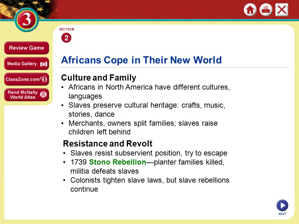 NEXT Africans Cope in Their New World Culture and Family Africans in North America have different cultures, languages Slaves preserve cultural heritage: crafts, music, stories, dance Merchants, owners split families; slaves raise children left behind 2 SECTION Resistance and Revolt Slaves resist subservient position, try to escape 1739 Stono Rebellion—planter families killed, militia defeats slaves Colonists tighten slave laws, but slave rebellions continue