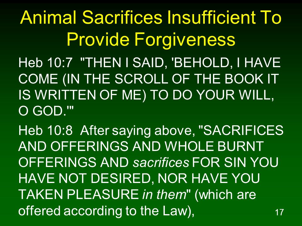 17 Animal Sacrifices Insufficient To Provide Forgiveness Heb 10:7 THEN I SAID, BEHOLD, I HAVE COME (IN THE SCROLL OF THE BOOK IT IS WRITTEN OF ME) TO DO YOUR WILL, O GOD. Heb 10:8 After saying above, SACRIFICES AND OFFERINGS AND WHOLE BURNT OFFERINGS AND sacrifices FOR SIN YOU HAVE NOT DESIRED, NOR HAVE YOU TAKEN PLEASURE in them (which are offered according to the Law),