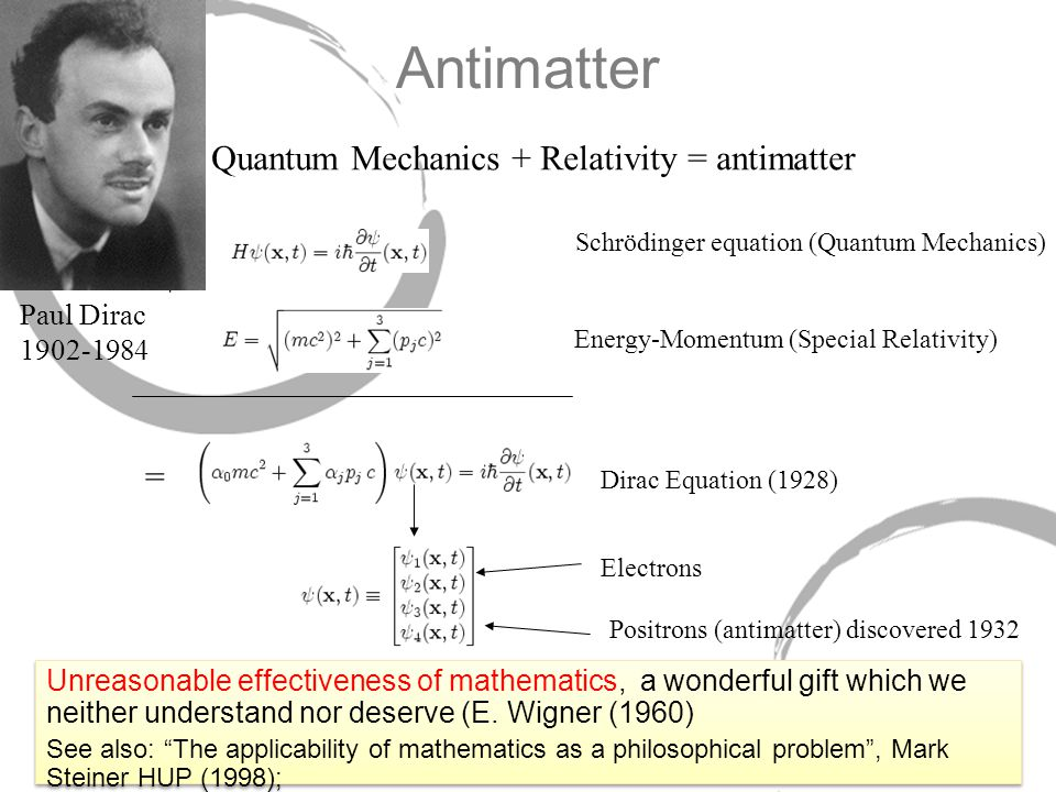 Antimatter + Schrödinger equation (Quantum Mechanics) Energy-Momentum (Special Relativity) = Dirac Equation (1928) Electrons Positrons (antimatter) discovered 1932 Unreasonable effectiveness of mathematics, a wonderful gift which we neither understand nor deserve (E.