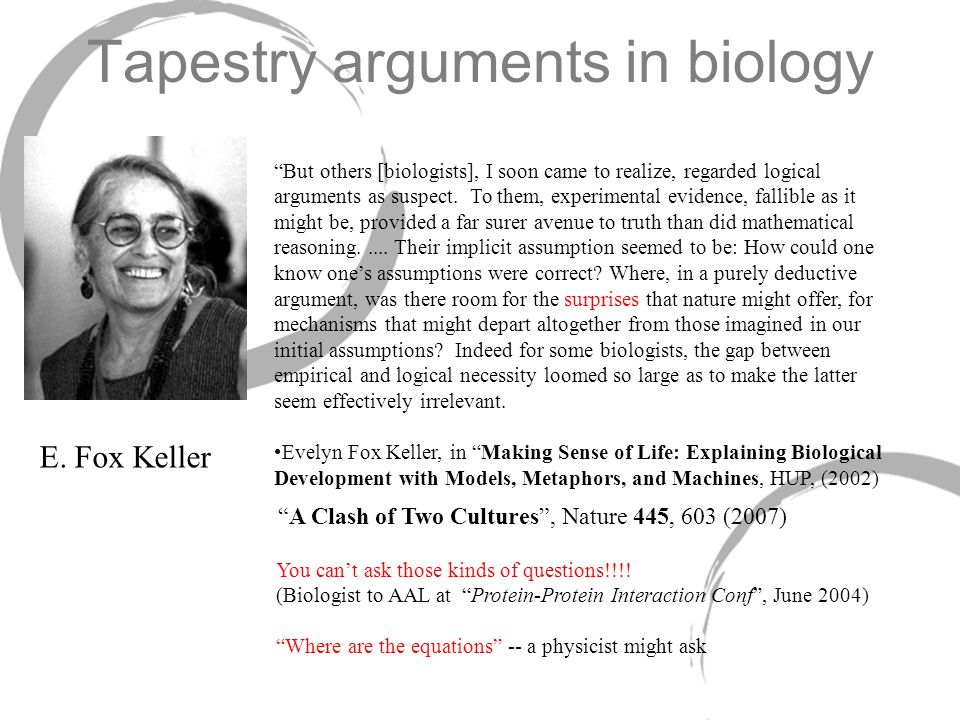 Tapestry arguments in biology But others [biologists], I soon came to realize, regarded logical arguments as suspect.