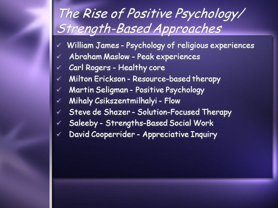 The Rise of Positive Psychology/ Strength-Based Approaches William James - Psychology of religious experiences Abraham Maslow - Peak experiences Carl Rogers - Healthy core Milton Erickson - Resource-based therapy Martin Seligman - Positive Psychology Mihaly Csikszentmilhalyi - Flow Steve de Shazer - Solution-Focused Therapy Saleeby - Strengths-Based Social Work David Cooperrider - Appreciative Inquiry William James - Psychology of religious experiences Abraham Maslow - Peak experiences Carl Rogers - Healthy core Milton Erickson - Resource-based therapy Martin Seligman - Positive Psychology Mihaly Csikszentmilhalyi - Flow Steve de Shazer - Solution-Focused Therapy Saleeby - Strengths-Based Social Work David Cooperrider - Appreciative Inquiry