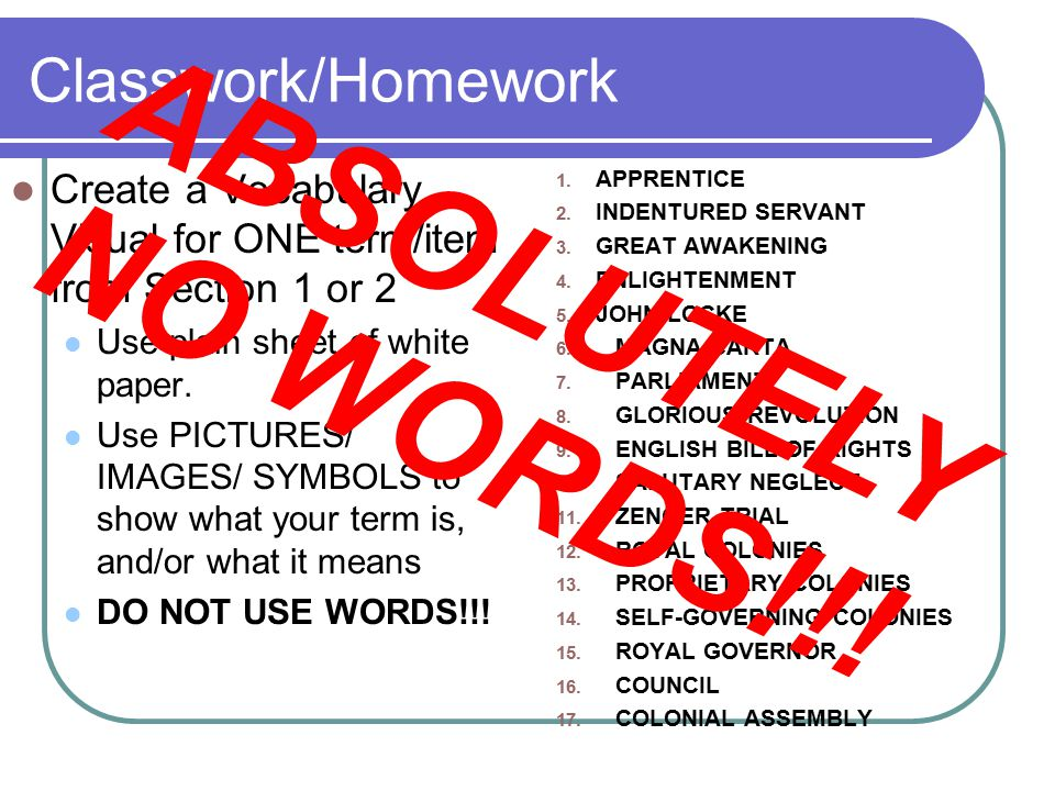 Classwork/Homework Create a Vocabulary Visual for ONE term/item from Section 1 or 2 Use plain sheet of white paper.