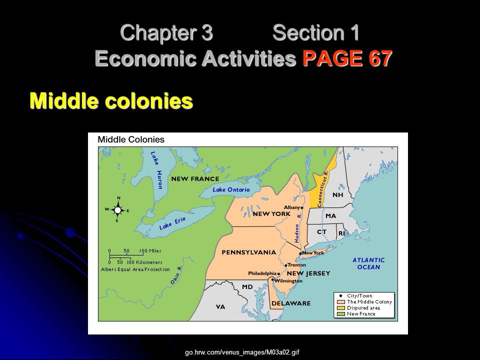 Chapter 3 Section 1 Economic Activities PAGE 67 Middle colonies go.hrw.com/venus_images/M03a02.gif