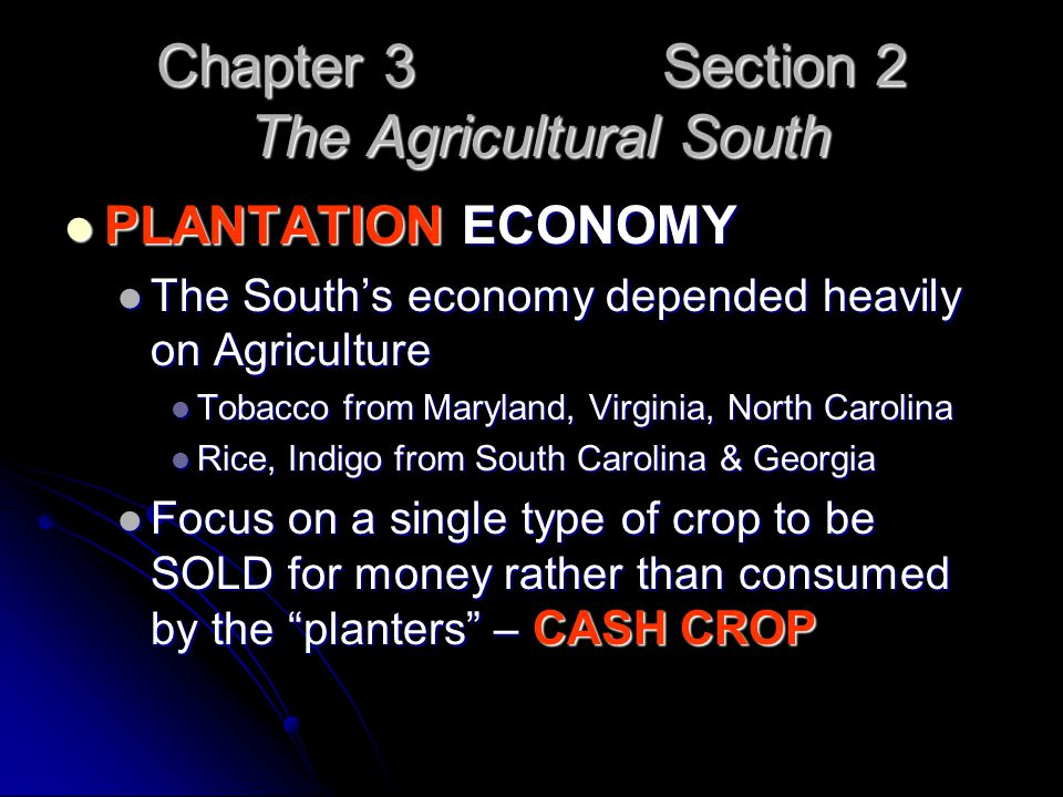 Chapter 3 Section 2 The Agricultural South PLANTATION ECONOMY PLANTATION ECONOMY The South's economy depended heavily on Agriculture The South's econo
