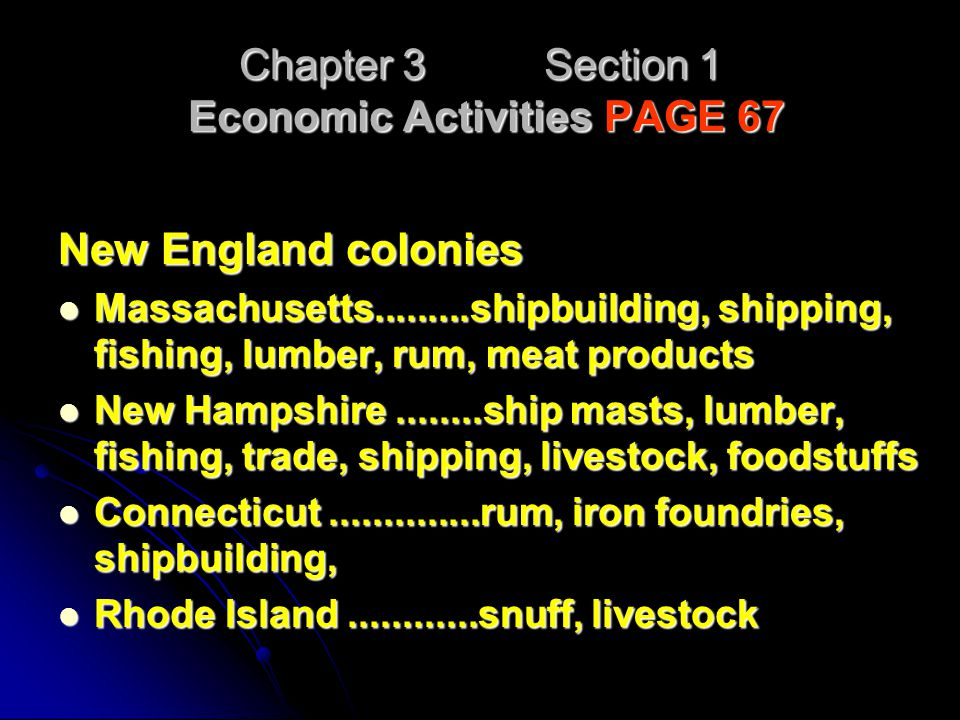 Chapter 3 Section 1 Economic Activities PAGE 67 New England colonies Massachusetts.........shipbuilding, shipping, fishing, lumber, rum, meat products