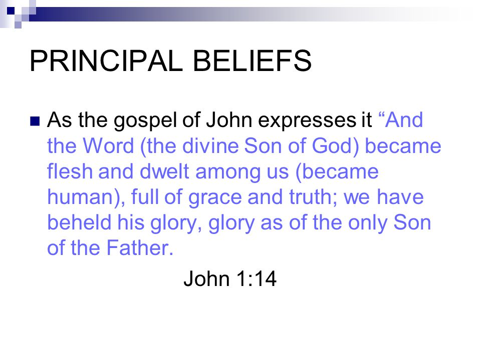 "PRINCIPAL BELIEFS As the gospel of John expresses it ""And the Word (the divine Son of God) became flesh and dwelt among us (became human), full of gra"