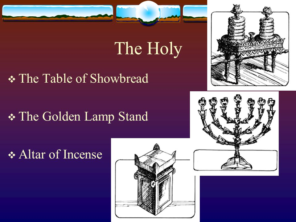 Holy of Holies  Holy of Holies Exo 26:33, Heb 9:2  Ark of Covenant Exo 25:10-16  Mercy Seat Exo 25:17-22  Golden Censer Lev 16:13