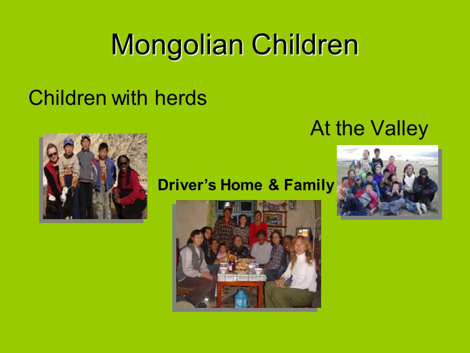 Mongolian Children Children with herds At the Valley Driver's Home & Family