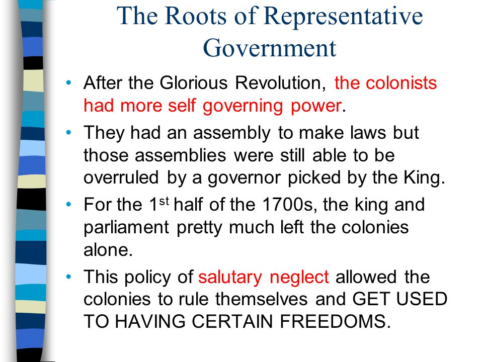 The Roots of Representative Government After the Glorious Revolution, the colonists had more self governing power.