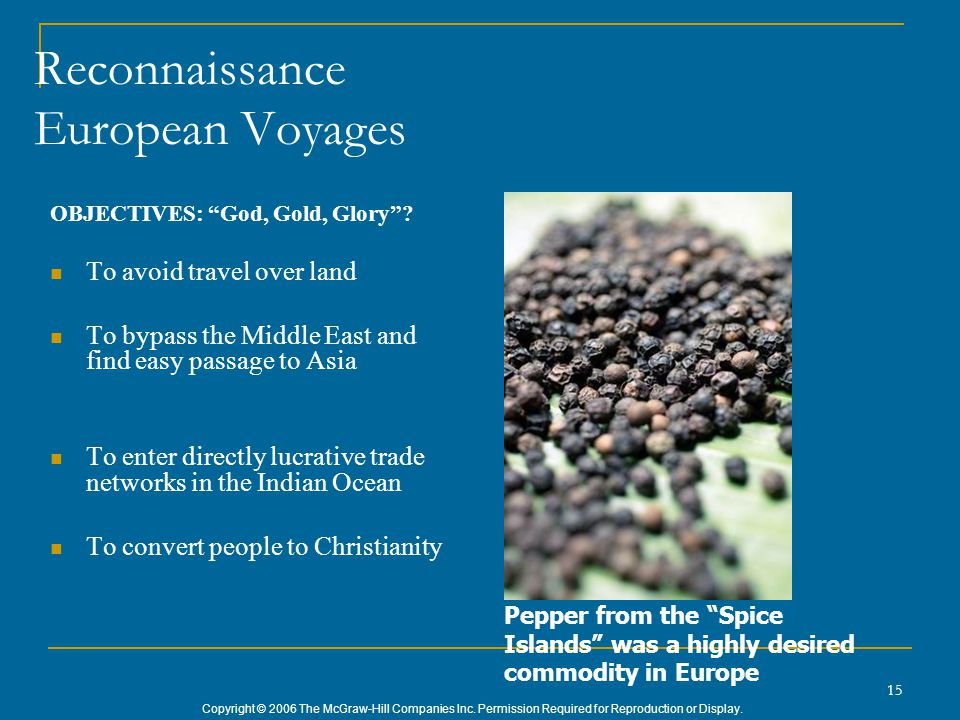 "Copyright © 2006 The McGraw-Hill Companies Inc. Permission Required for Reproduction or Display. 15 Reconnaissance European Voyages OBJECTIVES: ""God,"